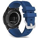 Gear S3 Frontier/Classic バンド - ATiC Samsung Gear S3 Frontier/Gear S3 Classic/Moto 360 第二世代 46mm Watch用 ソフト 高級 シリコーン製腕時計ストラップ/バンド