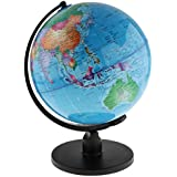 Dolity 25cm/20cm Swivel Stand World Map Globe for Desktop Decoration Geography Education - Blue, 25cm