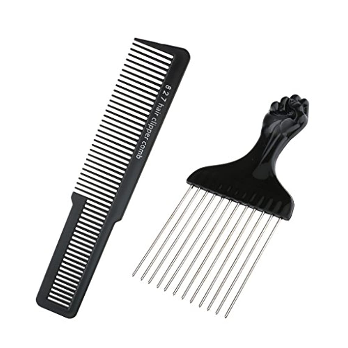共産主義マッサージ電気美容院の理髪師のヘアスタイリングセットの毛の切断のクリッパーの櫛セットが付いている黒いステンレス鋼のアフロピックブラシ