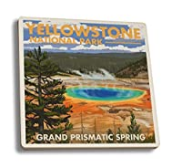 (4 Coaster Set) - Yellowstone National Park, Wyoming - Grand Prismatic Spring (Set of 4 Ceramic Coasters - Cork-backed, Absorbent)