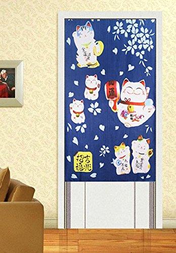 華やか 猫 のれん (開運猫 ブルー, 150cm×82cm)