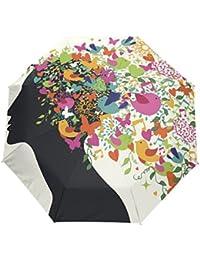 KASAMOイラストレーション 挿し絵折りたたみ傘 子供 キャラクター ワンタッチ自動開閉 耐強風 折りたたみ傘 レディース 晴雨兼用 軽量 紫外線傘 UVカット