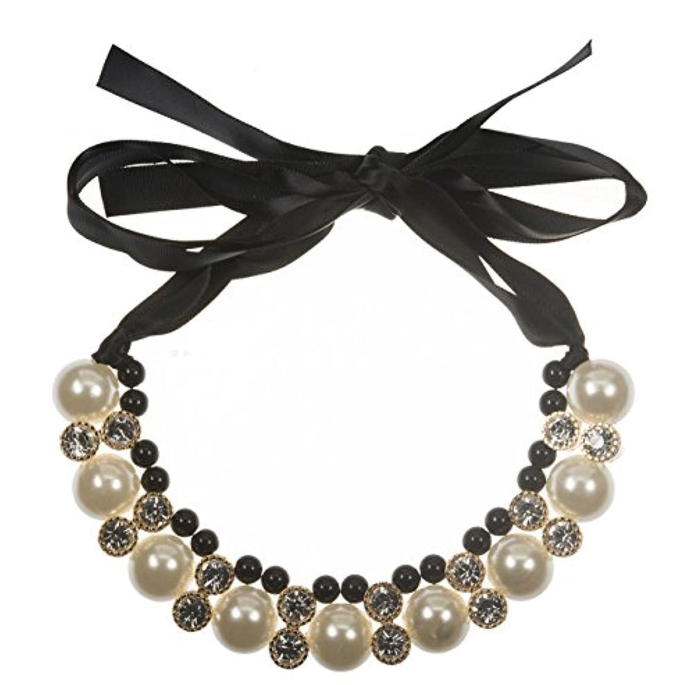 [Petit Celeb] ネックレス レディース チェーン ペンダント ギフト 誕生日 チョーカー 真珠 リボン ラインストーン (ブラック×ホワイト)