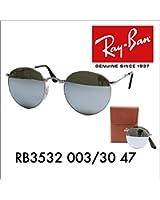 レイバン国内正規品販売店 Ray-Ban サングラス RB3532 003/30 47 伊達メガネ 眼鏡 ラウンド ROUND 折りたたみ クラシック ■フレームカラー:シルバー■レンズカラー:ライトグリーンミラーシルバー