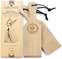 Gnocchi Boards and Wooden Butter Paddles to Easily Create Authentic Homemade Pasta and Butter Without Sticking - Set of...