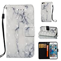 iPhone 5s/SE Case,AICOO 3D Marble Wallet Bling Sparkle Shiny Luxury Flip Folio Kickstand CBlueit Card ID Holders Design Flip Cover TPU Soft Bumper PU Leather Magnetic for iPhone 5s/SE Case,Whitegery