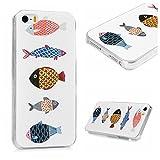 iPhoneSE/iPhone5S/iPhone5 ケース スマホケース Lanveni ハードケース アイホン5用カバー iPhone5S 保護ケース 携帯カバー 軽量 薄型 衝撃吸収 おしゃれ 高級感 シンプル 手触り良い 防塵 キズ防ぎ 保護 魚 綺麗 可愛い