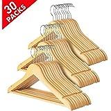 Yaheetech 30 Pack Wooden Clothes Hangers Coat Suit Garment Trousers