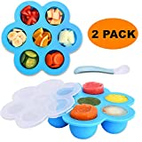 Silicone Egg Bites Molds 2 Pack Small Size Baby Food Storage Containers Freezer Trays with Lid and Baby Silicone Spoon for Instant Pot Accessories 3 qt Pressure Cooker
