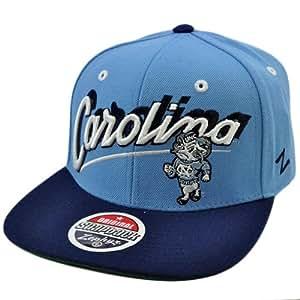 NCAA Carolina TarヒールUNCフラットビルスナップバックZephyrライトブルーネイビー帽子キャップ