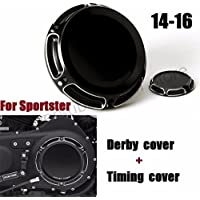 Motorcycle CNC 6-Hole Beveled Derby Cover & Timing Timer Covers For Harley 2004-16 XL Sportster black
