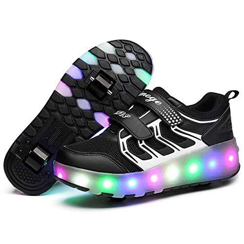 b7aea92fd3d02  STYLISH  ローラースニーカー ローラーシューズ ジュニア スニーカー 運動靴 スポーツ 子供靴 男の子 女の子 光る靴 USB充電可能  取り外し可能 2輪 (21cm