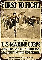 なまけ者雑貨屋 US Marine Corps First to Fight ブリキ看板 壁飾り レトロなデザインボード ポストカード サインプレート 【40×30cm】