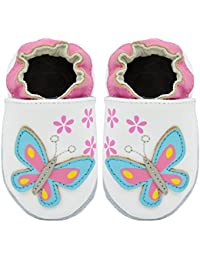 Kimi + Kai Kids Soft Sole Leather Crib Bootie Shoes - Blooming Butterfly