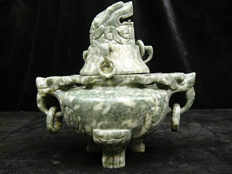 インド金銭的おかしいJade Dragon Head Incense Burner/Urn t2