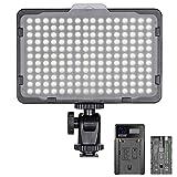 Neewer 調光可能な176 LEDビデオライト 5600Kライトパネル 2600mAhリチウムイオンバッテリー、USBバッテリー充電器付き Canon、Nikon、Pentax、Panasonic、Sonyなどのデジタル一眼レフカメラに使え