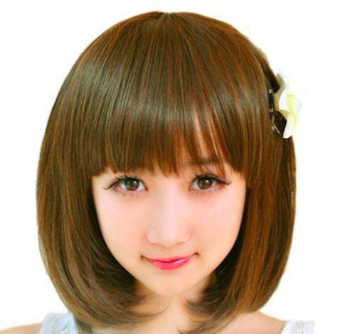 ウィッグ ショート ボブ シンプル 綺麗 系 前髪 ぱっつん...