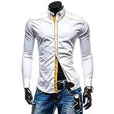 メンズ カジュアル シャツ 長袖 スリム スタイリッシュ ステッチ ドレス ワイシャツ (ホワイト XXL)