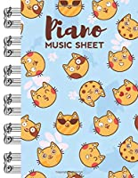 Piano Music Sheet: Blank Manuscript Paper with Cute Cat Emotions Themed