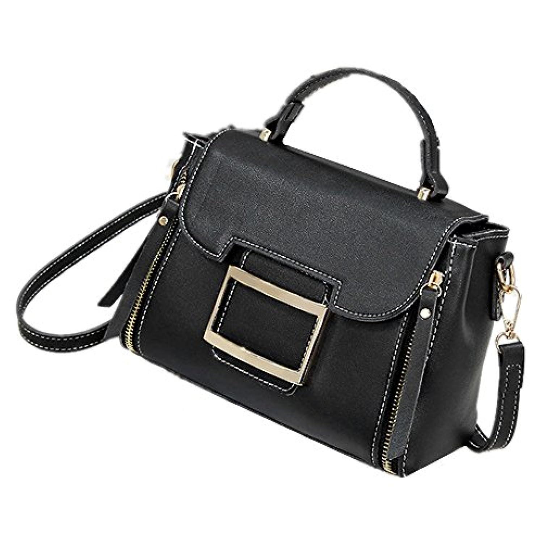 女性のハンドバッグのファッションワンショルダーの対角線の女性のバッグ潮の小さな正方形のバッグの小さなバッグの韓国語バージョン (色 : ブラック)