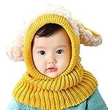 HKH キッズ ニット 帽 ネックウォーマー うさ耳 ニット帽 赤ちゃん ベビー 帽子 防寒 子供 衣装 (イエロー)