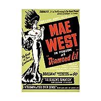 Advert Theatre Stage Play Diamond Lil Mae West Wall Art Print 広告劇場ステージ遊びます西壁