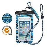 iPhone6/Samsung 防水ケース ,は、最新の迷彩シリーズ, IPX8 100% FUDIUH®救助用ネックストラップ付属 (迷彩ブルー)