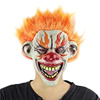 PPOO 怖い悪ピエロマスク、両面ラテックスゴムマスクハロウィン衣装マスク (血液) ピエロ大人のためのマスク