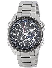 Casio Men's Edifice EQS500DB-1A1 Silver Stainless-Steel Quartz Watch with Black Dial【並行輸入】