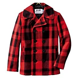 24 Oz. Melton Wool Plaid Naval Pea Coat 753UP (7122): Red