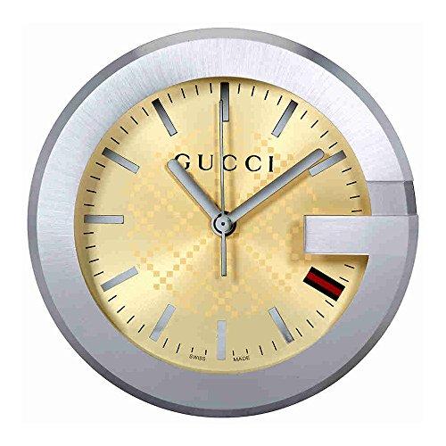 GUCCI YC210005 グッチ テーブルウォッチ ステンレス×レザー 置時計 ベージュ×ブラウン×シルバー【並行輸...