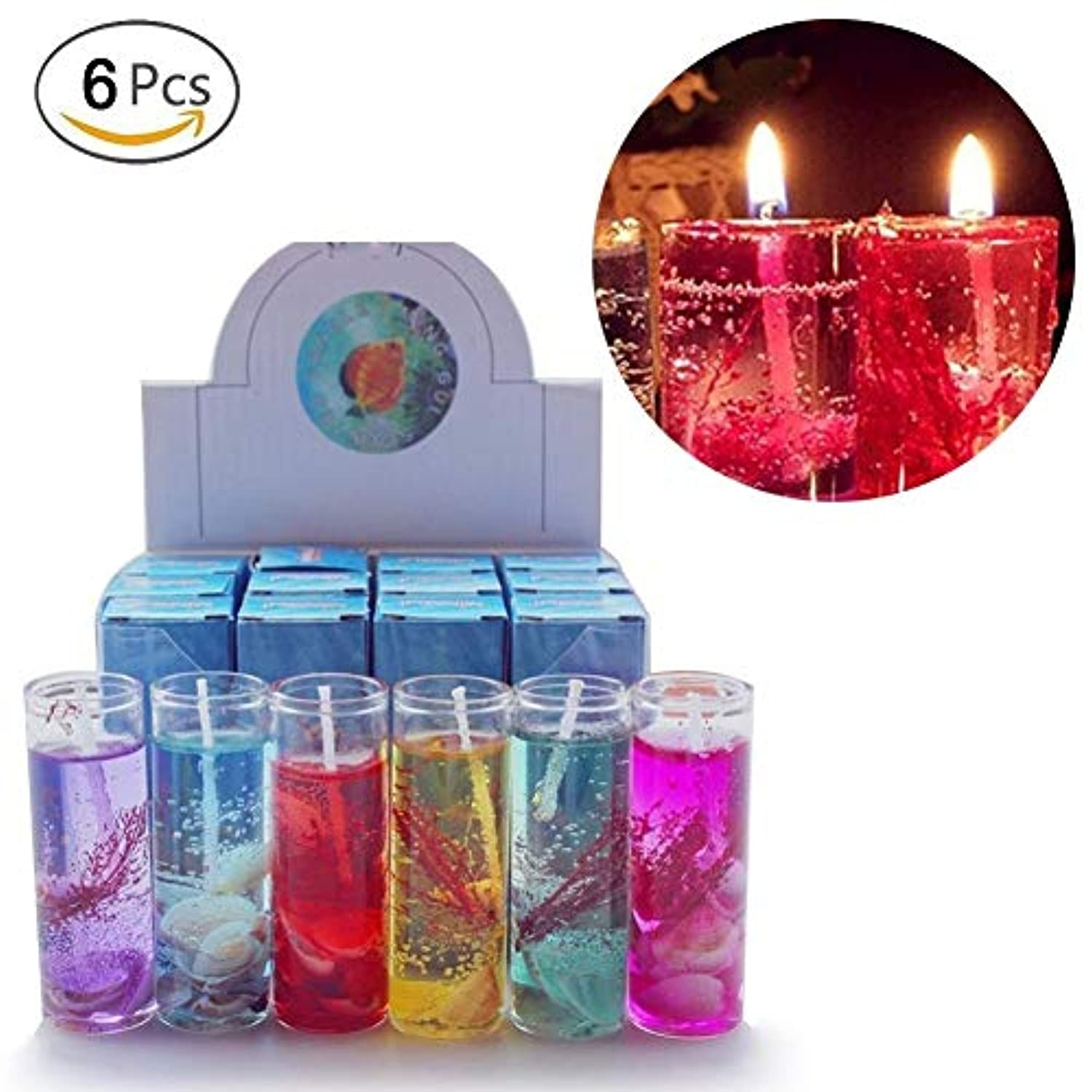 Hacloser 6Pcs Ocean Jelly Aromatherapy Candles Wedding Valentines Romantic Scented Candle, Random Colour