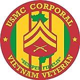 ミリタリーペットショップマグネット USMC コーポラル ベトナム 退役軍人 ビニールマグネット 車 冷蔵庫 ロッカー メタルデカール 3.8インチ