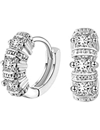 BIGBOBA Square Diamond Earrings Classic Earrings High Quality Zircon Anniversary Christmas Gifts Valentine's Day for Women Ladies Girls