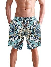 VAWA 水着 メンズ サーフパンツ おしゃれ ビーチパンツ 海水パンツ 短パン 吸汗速乾 大きいサイズ 水陸両用 花柄 民族風