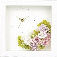 プリザーブドフラワー ウッドクロックM ホワイト 【時計 置型 おき型 置時計 壁掛け かべかけ 掛け時計 アナログ かわいい 女性 誕生日 記念日 プレゼント ギフト F7122HT06】