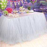 AYtAIパックの4ホワイトチュールテーブルスカートfor 6ftテーブル、プレミアムチュチュテーブルスカート結婚式、パーティー、ベビーシャワー、誕生日、Girl装飾
