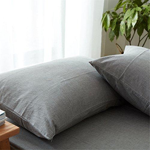 枕カバー・ピローケース 綿100% 封筒式 43X63cm 防ダニ 抗菌防臭加工 (シングル・43X63cm, グレー)