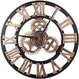 アナログローマ数字壁時計ギア現代の装飾的なリビングルームの寝室の装飾用女性男性子供,23inch