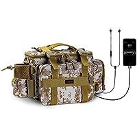 Yiwalab 釣り バッグ 大容量 多機能 USB充電ポート搭載3WAY ウエストバッグ タックルバック 広口開口 フィッシングバッグ 小型リール収納、釣り サバゲー ハイキング 登山