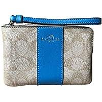 Coach Signature PVC Leather Corner Zip Wristlet (Light Khaki Bright Blue)