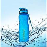 Qrity 1000ml/1L Sport Water Bottle, Wide Mouth Leak Proof Food Grade Plastic Drink Beverage Water Bottles for Running, Camping, Hiking, Biking, Travel, Gym, Outdoor Sport