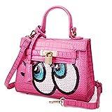 Kaichen 韓国の女性バッグ ファッション大きな目目愛斜めクロコダイル ショルダー バッグ ハンドバッグ バッグ (ローズ)