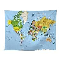 Allb タペストリー多機能ファブリック装飾用品クラシックスタイル部屋 装飾 部屋窓カーテン個性ギフト (世界地図A 200*150cm)