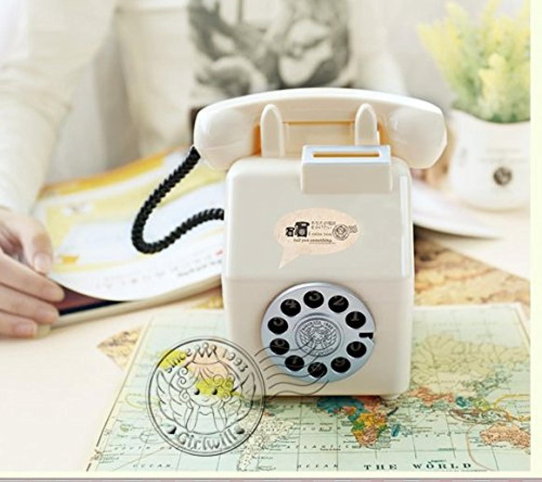 HuaQingPiJu-JP 電話のお金ジャーパーソナリティオーナメントオールドファッションピギーバンク(ホワイト)