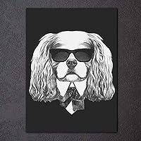 XKHSD 現代黒白絵画ファッション動物犬猫ポスターグレーキャンバスプリント1ピース壁アート画像部屋の装飾なしフレーム
