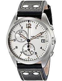 Hamilton ハミルトン メンズ 時計 腕時計 Men's H76512755 Khaki Aviation Stainless Steel Watch with Black Genuine Leather Band