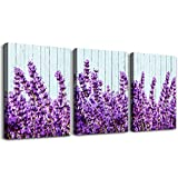 purple lavender Wall Art for Living Room Canvas Prints Artwork Bedroom wall decorations inspirational flowers watercolor wall Painting, 16x24 inch/piece, 3 Panels Home bathroom Wall decor posters