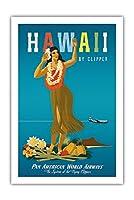 ハワイ州クリッパー - ハワイアンフラガール - パンアメリカン航空 - ビンテージなハワイの旅行のポスター によって作成された ジョン・アサートン c.1950s - アートポスター - 61cm x 91cm