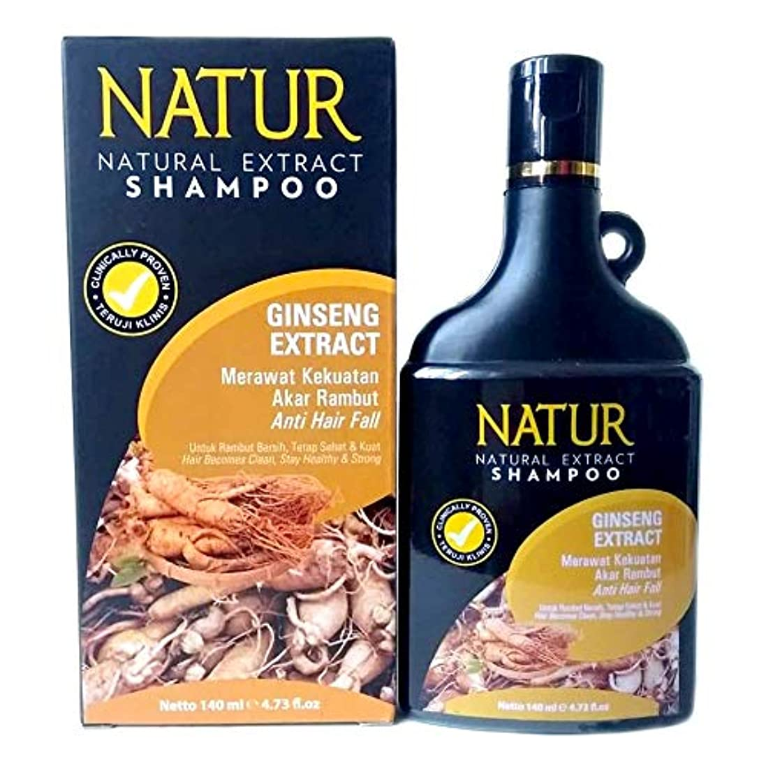 重要酸素でNATUR ナトゥール 天然植物エキス配合 ハーバルシャンプー 140ml Ginseng ジンセン [海外直商品]